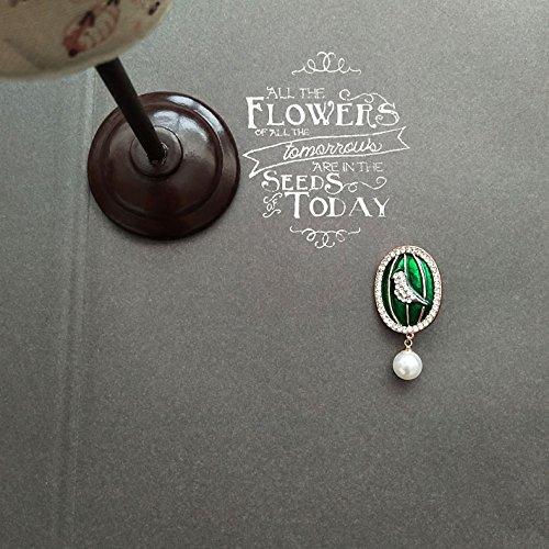 European court of retro exquisite green enamel inlay diamond corsage brooch bird cage pearl pendant sweater collar pin female jewelry
