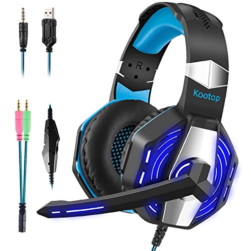 - Kootop Stereo Gaming Headset for Xbox one ,PS4 PC, Noise Cancelling Over Ear Headphones with Mic,Soft Earmuffs ,Bass Surround ,LED Light ,for Laptop Tablet Phone(Black&Blue)