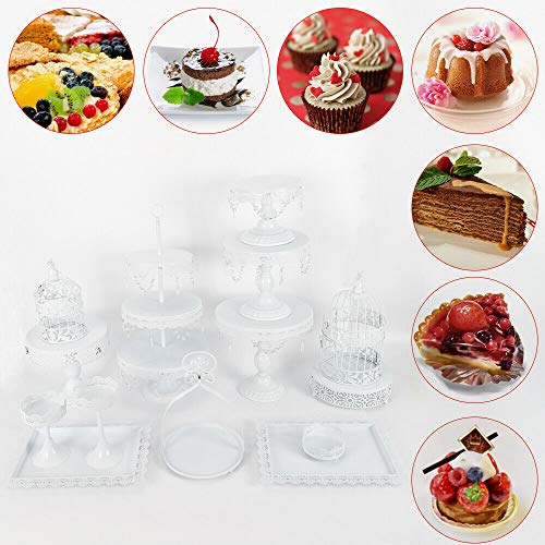 Cake Stand KPfaster 14 Pcs Wedding Cake Dessert Stand Cake Display Table Decoration Party ()