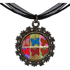 Chicforest Bronze Retro Style multi colorful butterfly Round With Flower Lace Pendant