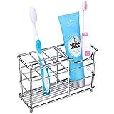 #8: HOMEIDEAS Stainless Steel Bathroom Toothbrush Holder Toothpaste Holder Stand