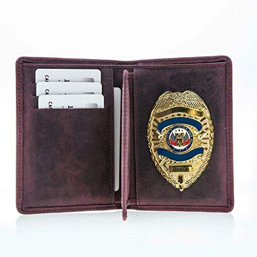 Police Badge Wallet, All Leather, Fits Any Shape Badge with Pin Back Purple