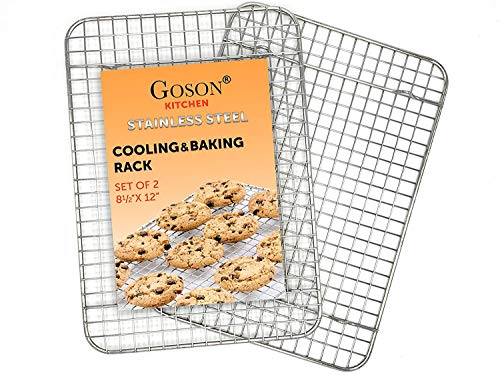 (Goson Kitchen Stainless Steel Heavy Duty Metal Wire Cooling, Cooking, Baking Rack For Baking Sheet, Oven Safe up to 575F, Dishwasher Safe Rust Free | 8.5