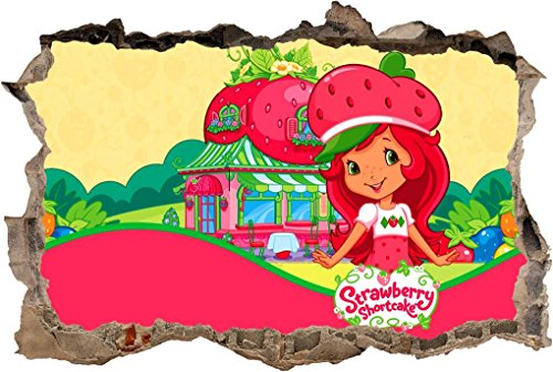 Strawberry Shortcake 3D Smashed Wall Sticker Decal Decor Art Mural Kids J545, -