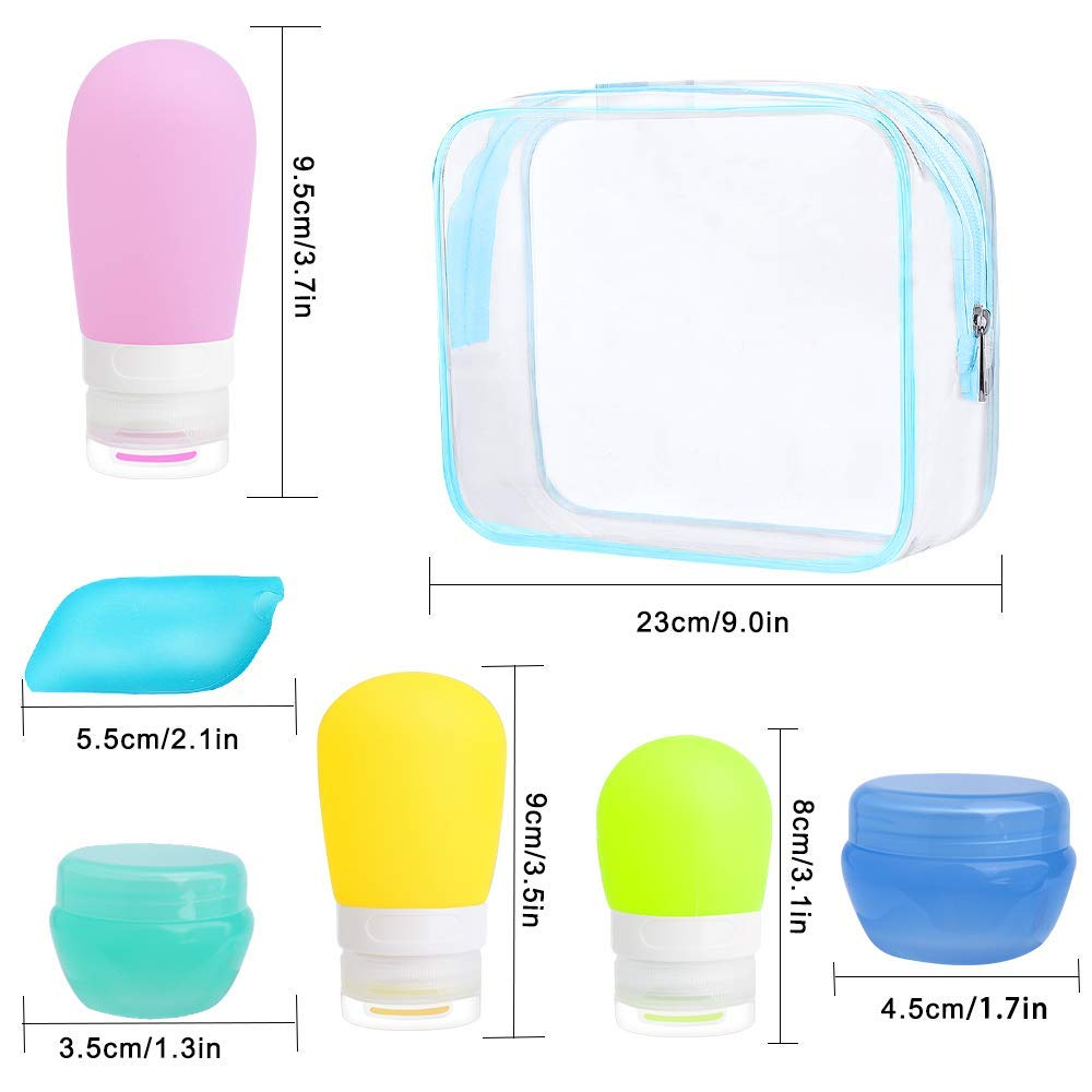 Travel Bottles, Standie 17PCS Leakproof Silicone Travel Toiletry Bottle Set Cosmetic Toiletry Containers for Shampoo Lotion Condiment