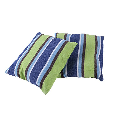 Inspired Home Living 2 Pack 15x15 Pillow Cushions - Blue and Green Striped - Best Used for Hammocks, Hammock Chairs, Patio Swings - Indoor and Outdoor - Outdoor Hammock Pillow