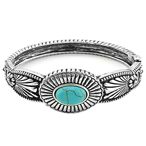 Rosemarie Collections Women's Southwestern Style Hinged Turquoise Statement Cuff Bracelet