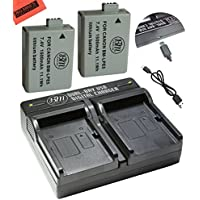 2 Pack of LP-E5 Batteries and USB Dual Battery Charger Kit For Canon EOS Rebel XS, Rebel T1i, Rebel XSi, 1000D, 500D, 450D, Kiss X3, Kiss X2, Kiss F Digital SLR Camera
