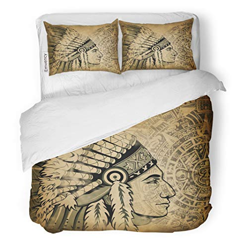 Semtomn Decor Duvet Cover Set King Size Aztec Calendar and Face of The Man Traditional Headdresses 3 Piece Brushed Microfiber Fabric Print Bedding Set Cover -