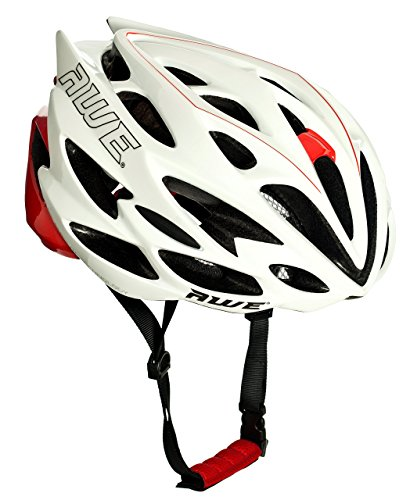 AWE® AWESpeed™ In Mould Adult Road Racing Cycling Helmet 58-61cm White/Red (Cm Road 60 Bike)