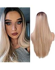 Ombre Blond peruki dla kobiet Naturalnie wyglądające proste syntetyczne włosy Peruka z przedziałkiem w połowie Ręcznie wiązana