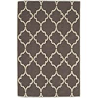 Ottomanson Nature Cotton Kilim Collection Trellis Design X Area Rug, 5'0' x 7'0', Brown