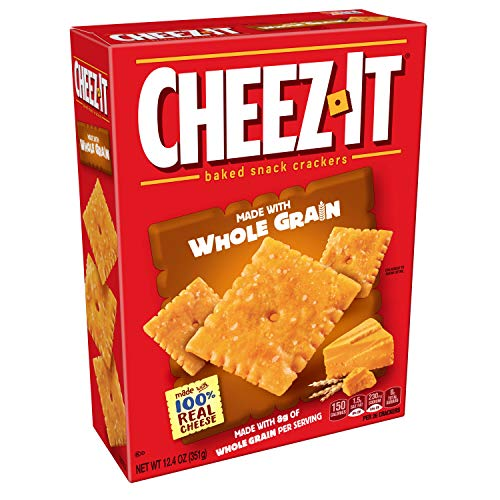 CheezIt Baked Snack Cheese Crackers, Whole Grain, 12.4 oz Box(Pack of 12)