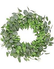 "U'Artlines 18"" Natural Garland Front Door Wreaths, Artificial Boxwood Greenery Hanging Wreath for Home Party Indoor Outdoor Window Wall Wedding Decoration (Eucalyptus Wreath with Seeds)"