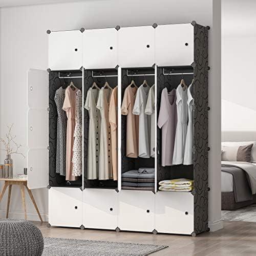 MAGINELS Portable Wardrobe Closets 14 x18 Depth Cube Storage, Bedroom Armoire, Storage Organizer with Doors, 20 Cubes, Black