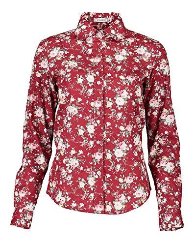 Shirt Camicetta Grazioso Size Lunga Blusa Vintage L Festiva Donna Stampato Bavero Elegante Stil Autunno Con Tops Manica color Ciliegia Button Camicia Tempo Libero 5 Primaverile Moda PPpnH