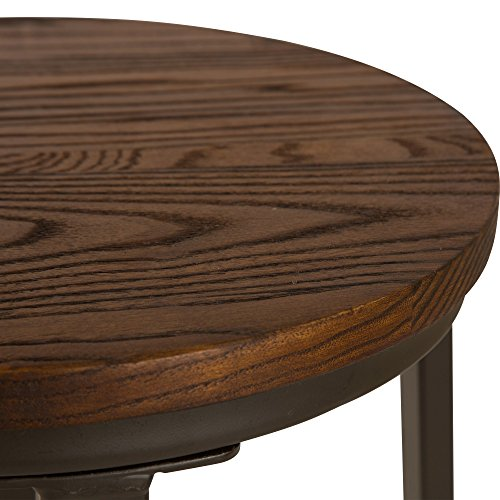 Glitzhome Rustic Steel Bar Stool Round Wood Top Dining Room Pub Chairs Set of Two by Glitzhome (Image #2)