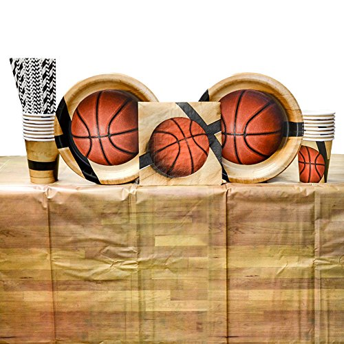 - Cedar Crate Market Sports Fanatic Basketball Birthday Party Supplies Pack 16 Guests: Straws, Dinner Plates, Luncheon Napkins, Table Cover Cups