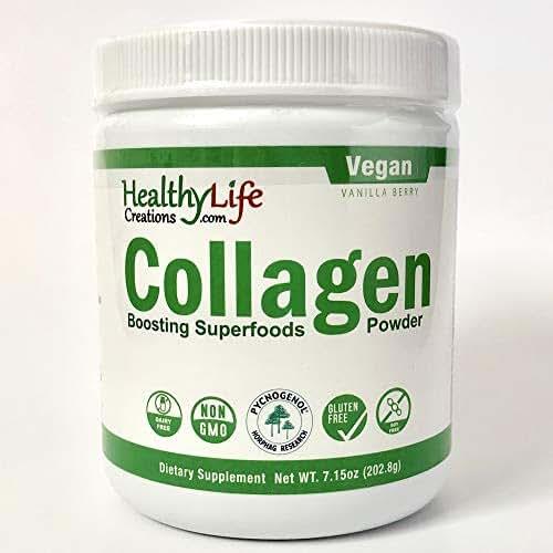 Vegan Collagen Boosting Superfood Greens Powder. This Amazing Greens Powder has 50 Collagen Health Boosting Ingredients in Every Scoop! (30 Servings-Vanilla Berry Flavor)
