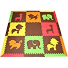 "SoftTiles Safari Animals Premium Interlocking Foam Large Children's Play Mat Red, Yellow, Orange, Lime & Brown 78"" x 78"" ROYLB"