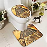 2 Piece Bathroom Mat Set Church Catholic Gifts SunTower Medieval Architecture Prague Tapestry Wall Han Personalized Durable