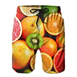 2018 pants Orange Kiwi Fruit Men's/Boys Casual Swim Trunks Short Elastic Waist Beach Pants with Pockets