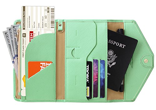 Zoppen Multi-purpose Rfid Blocking Travel Passport Wallet (Ver.4) Tri-fold Document Organizer Holder (#28 Mint Green (2018 New)) ()