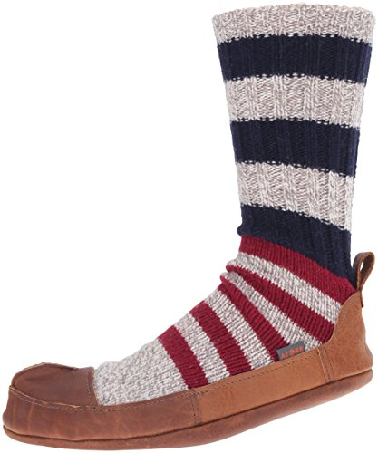 ACORN Men's Maine Sock Slipper, Ragg/White/Blue Wool, X-Small/6.5-7.5 B US Leather Patent Leather Slippers