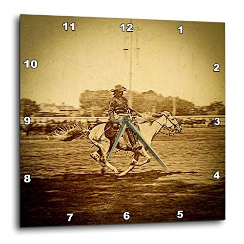 3dRose Scenes from The Past - Stereoview - 1886 Buffalo Bill Wild West Show William Cody Bucking Bronco Vintage - 10x10 Wall Clock - Buffalo Bills Clock