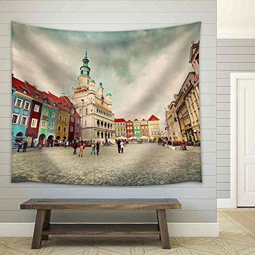 Poznan Posen Market Square Old Town Poland Town Hall and Colourful Historical Buildings Vintage Fabric Wall Tapestry