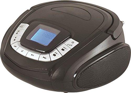 Sylvania SRC1227BT Portable Bluetooth Radio Boombox with FM Radio Aux In Jack Black by Sylvania