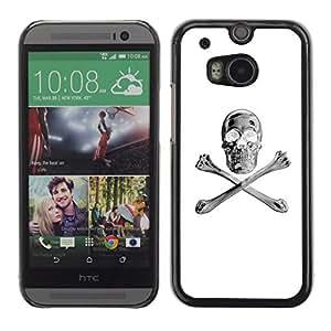 Shell-Star Arte & diseño plástico duro Fundas Cover Cubre Hard Case Cover para HTC One M8 ( White Silver Crossbones Skull Black )