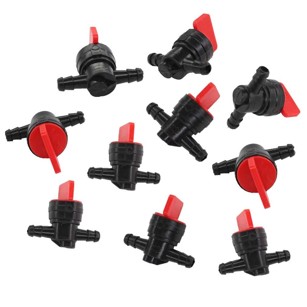 AISEN Lot de 10 robinets à essence pour robinet d'arrêt E/A 6,35 mm Remplace Briggs & Stratton 698183 494768 493960 491860, Wolf 2058063 2059063 John Deere AM36141 AM107340