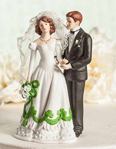 Wedding Collectibles Irish Bride and Groom Shamrock Accent Wedding Cake Topper Figurine