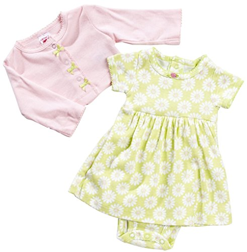Carter's Baby Girls Cardigan and 'Daisy' Dress Set 12 Months Pink/Lime - Infant Girl Carters Daisy
