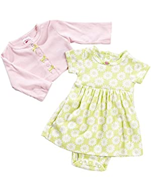 Baby Girls Cardigan and 'Daisy' Dress Set 12 Months Pink/Lime