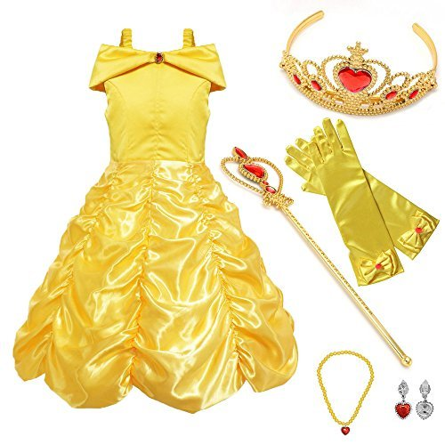 SurpCos Princess Costume Drop Shoulder Layered Party Dress up with 4 Sets Accessories(Gloves, Tiara, Wand, Necklace)