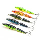 "Kredy 5pcs/lot 10.5cm 4.13"" 3D Fishing Eyes Laser Line Hard Minnow Baits Life-like Swimbait Fishing Lures Bass Crankbait Tackle for Pikes/Bass/Trout /Walleye/Redfish /Catfish / Grouper / Luce"