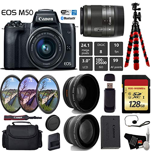 Cheap Canon EOS M50 Mirrorless Digital Camera with 15-45mm Lens + UV FLD CPL Filter Kit + Wide Angle & Telephoto Lens + Camera Case + Tripod + Card Reader – International Version