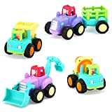 VATOS Baby Toy Friction Powered Cars Push and Go Toddler Car Toys for 18 Months+ Baby Construction Vehicles Toys Sets of 4 Tractor, Bulldozer, Cement Mixer Truck and Dumper for 2 3 Years Old Boy Girl
