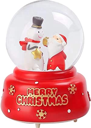 Noetoy Christmas Snow Globes - 80 MM Automatic Snow Drift with LED Light Musical Snow Globe for Home Decoration Girls Kids Gift (Red-B)