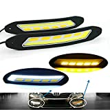 Heinmo 2 pcs Car headlights COB Fog Lamp Car Daytime Running Light LED DRL with Turn Signal Lights Waterproof