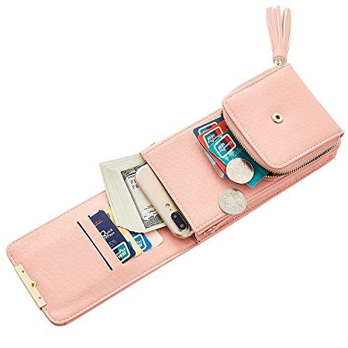 multi main multifonction à gland poche cellulaire Rose Fermeture bandoulière femmes téléphone en sac sachet élégante PU pour Messenger cuir glissière bandoulière embrayage sac portefeuilles Mode U7qIwRx