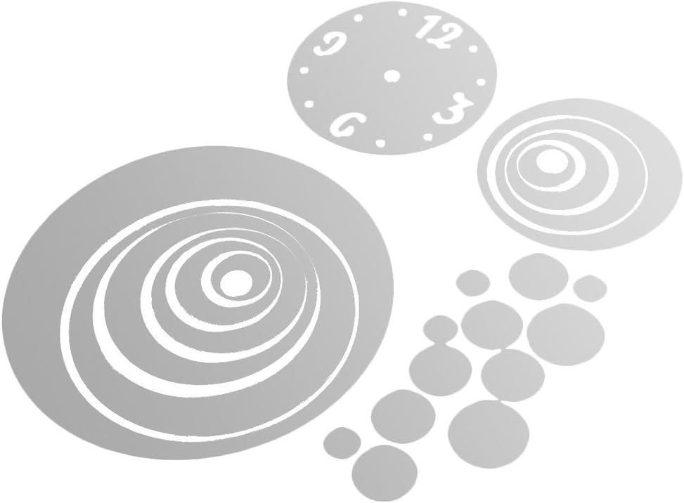 Argent Tofern DIY 3D Modernes Horloge Autocollant Sticker Mural Sticker Autocollant Amovible Miroir de Style Artistique Decal Maison Salon Chambre D/écor D/écoration