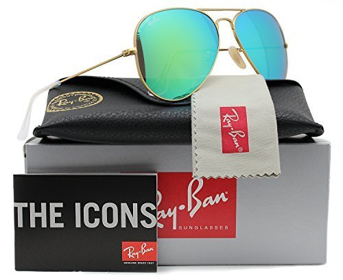 Ray-Ban RB3025 Aviator Sunglasses Matte Gold w/Green Mirror (112/19) 3025 58mm - 3025 Ban Sunglass Matte Aviator Mirror Ray Gold Authentic
