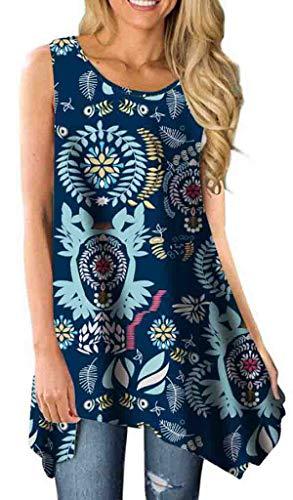 T-shirt Top Tip - Summer Tops for Women Tunics Tshirt Floral Sleeveless Casual Irregular Hem Asymmetrical Navy Blue1 Large