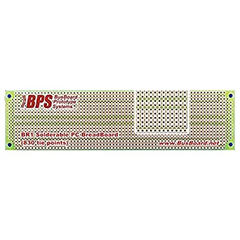 Busboard Protot BR1 Solder able PC Breadboard 1 Sided PCB Matches 830 Tie Point Breadboard with Power Rails