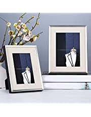 Beautiful Modern Light Luxury Style Solid Wood Picture Frame for Home Bedroom Office Home Desktop Decorations Tabletop Picture Frames (Color : Silver, Size : 7 inches)