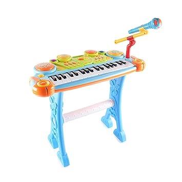 Juguete Teclado Piano electrónico para niños con micrófono 1-3-6 años Educación Infantil temprana Rompecabezas Recargable Niño Bebé Piano Toy (Color ...