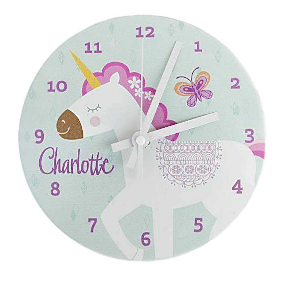 Personalized Kids Wall Clock 8 Inch - Colorful Kids Room Wall Decor, Unique Kids-Gifts (Charlotte Design)